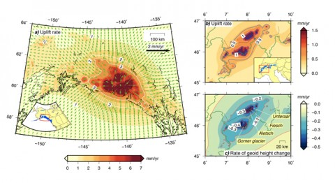 Fig. 1. Simulated vertical and horizontal rates of displacement and rate of geoid height variations (a) in Alaska and western Canada and (b and c) across the Alps between the periods of 1990/1991 and 2010/2011. Simulated rates are from the Regional Elastic Rebound Calculator (REAR) and show deformation changes with unprecedented realism and precision. The rates of mass loss are −43.9 and −2.5 gigatons per year, respectively. The model's resolution corresponds to roughly 1 kilometer on the Earth's surface. Blue areas in the insets show the extent of ice sources employed in these runs. Computing these maps requires only 3.5 minutes on a midrange workstation.