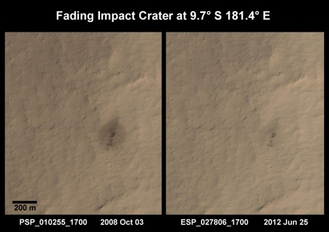 This series of images shows just how quickly impacts fade; the images were taken roughly three and a half years apart. Credit: HiRISE