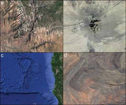 Fig. 1. Geologic features as seen with the satellite view of Google Maps. a) Fracture patterns in Zion National Park (37.2500215, -112.9473522); Imagery © 2015 Google, USDA Farm Service Agency, Map data © 2015 Google. b) Shiprock, NM, volcanic plug with radial dikes (36.6884074, -108.8336981); Imagery and Map data © 2015 Google. c) Oceanic transforms and fractures just northwest of Mendocino, California (42.0232886, -126.9627148); Imagery © 2015 SIO, NOAA, U.S. Navy, NGA, GEBCO, LDEO-Columbia, NSF, Landsat, Map data © 2015 Google. d) Spectacular fold patterns east of Alice Springs, Australia (-23.7204051, 134.2455588); Imagery © 2015 CNES / Astrium, DigitalGlobe, Map data © 2015 Google.