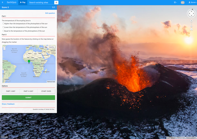 Fig. 2. EarthQuiz question featuring Photo Sphere imagery of a volcano on the Kamchatka peninsula, Russia. The box at the left shows the associated multiple-choice question (Part I), and a world map with a placemark for guessing the real-world location of the image (Part II). Background photo: Air