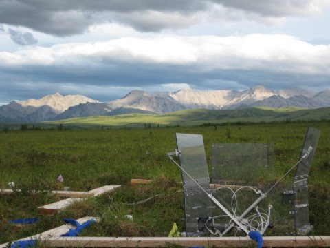 Automated flux chamber collects continuous measurements of carbon dioxide exchange at a drying and permafrost thaw experiment in Alaskan sub-arctic tundra. Credit: Sue Natali