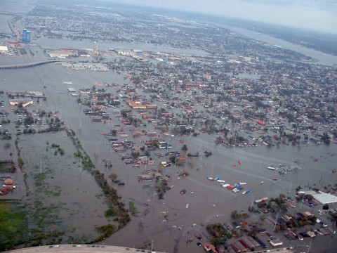 An aerial photograph from one of the first New Orleans fly overs shows the flooding as a result of the breeched levees following Hurricane Katrina. Photo taken 29 August 2005 Credit: Marty Bahamonde/FEMA