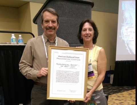 Eric Davidson and Jill Baron hold the official citation celebrating the partnership between AGU and the Ecological Society of America. Credit: JoAnna Wendel
