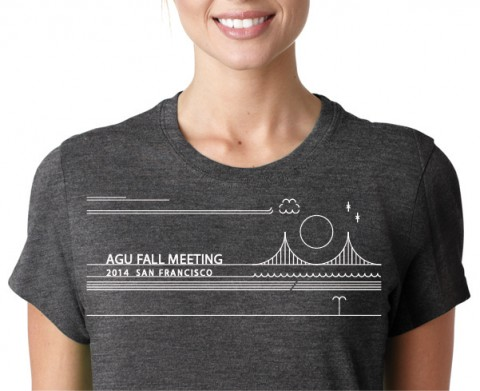 The winning 2014 AGU student T-shirt, pictured here, was designed by Kasey Aderhold. Credit: Pinnacle Promotions
