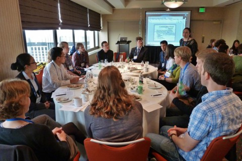 Early career investigators (ECIs) and a senior scientist chat at a luncheon held at the 2012 AGU Fall Meeting in San Francisco, Calif. The luncheon gave ECIs the opportunity to discuss research ideas and potential collaborations at the Alaska-Aleutian subduction zone through the Geodynamic Processes at Rifting and Subducting Margins (GeoPRISMS) initiative. Credit: Anaïs Férot (GeoPRISMS).