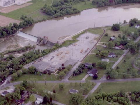 Aerial photo of the Ballville Dam (Sandusky River, Ohio) where a planned dam removal for enhanced fishery habitat has become mired in a legal dispute about possible downstream release of contaminated reservoir sediments. Credit: City of Fremont, Ohio. Used with permission. Photographer: Tim Warren
