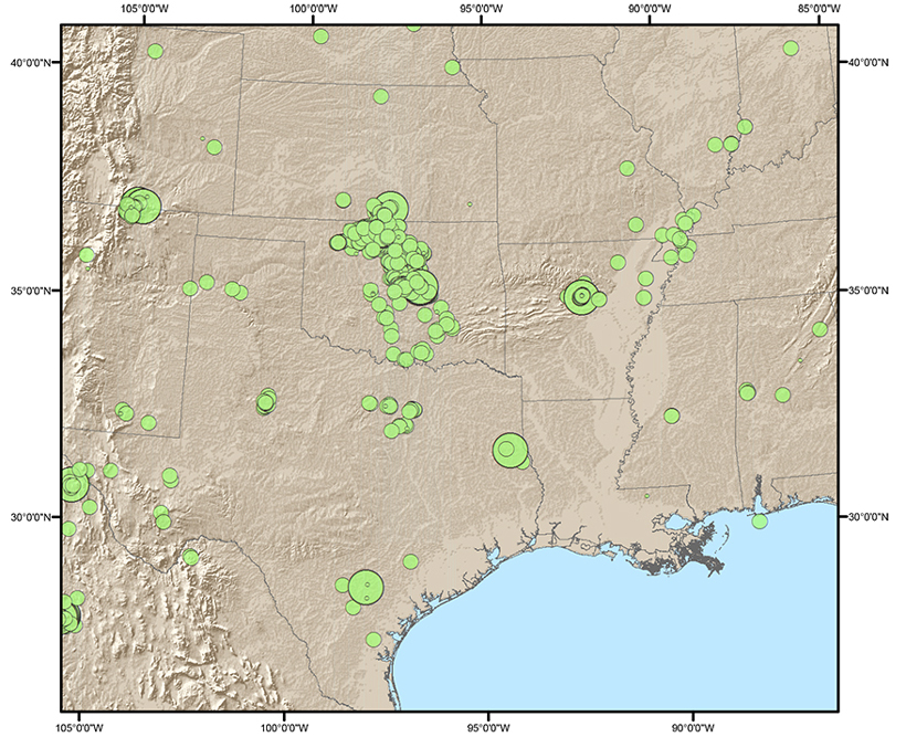 Seismicity of the central United States 2009–July 2015. Green circles indicate earthquakes of magnitude 3 and larger, and their sizes reflect the size of the earthquake. Much of this seismicity is believed to be related to salt water disposal from oil and gas production, particularly in Oklahoma, Texas, southern Kansas, central Arkansas, southeastern Colorado/northeastern New Mexico, and southeastern New Mexico. Credit: USGS