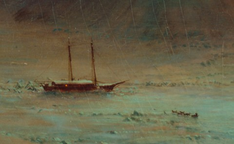Detail from Aurora Borealis, showing an ice-bound schooner and a man with a dogsled. In this painting, humanity is depicted as tiny and seemingly insignificant. Credit: National Museum of American Art, Smithsonian Institution, Washington, D. C.