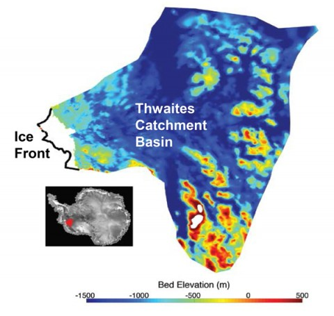 Fig. 1. Subglacial elevations of the bed beneath the Thwaites Glacier, West Antarctica, covering the area shown in red in the inset map in lower left. North is to the left. The thick black line at center left of the main image indicates the present-day ice shelf front. The dark blue colors indicate the presence of a remarkably deep, marine-based ice sheet, reaching from the ocean to far inland. Credit: Modified from Joughin et al. [2014]. Used with permission.