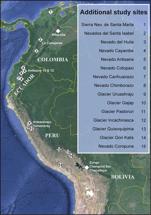 Fig. 1. A 1991 glacier-monitoring initiative in Bolivia has grown into a permanent network in the tropical Andes, with sites in four nations. The main study sites are marked on the map, and additional study sites are numbered and listed in the inset. Credit: Modified from Rabatel et al. [2013], CC BY 3.0
