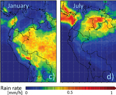 Fig. 2. The amount of hourly precipitation (millimeters per hour) in January and July averaged over the years 1998 to 2010 based on data from the Tropical Rainfall Measurement Mission. Credit: Excerpted from Rabatel et al. [2013] CC BY 3.0 license.