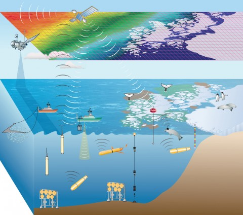 Schematic of a cyberinfrastructure-based vision for the Southern Ocean Observing System (SOOS). Marine assets would include a mixture of autonomous and nonautonomous platforms but rely increasingly on autonomous platforms over time. Credit: Meredith et al. [2013]. Used with permission.