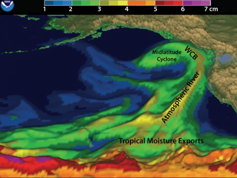 Fig. 1: This depiction of an atmospheric river, interacting with West Coast mountains and a midlatitude cyclone over the northeast Pacific on 5 February 2015, provides an example of approximate locations of associated tropical moisture exports and a warm conveyor belt (WCB). Credit: Adapted from NOAA/ESRL Physical Sciences Division