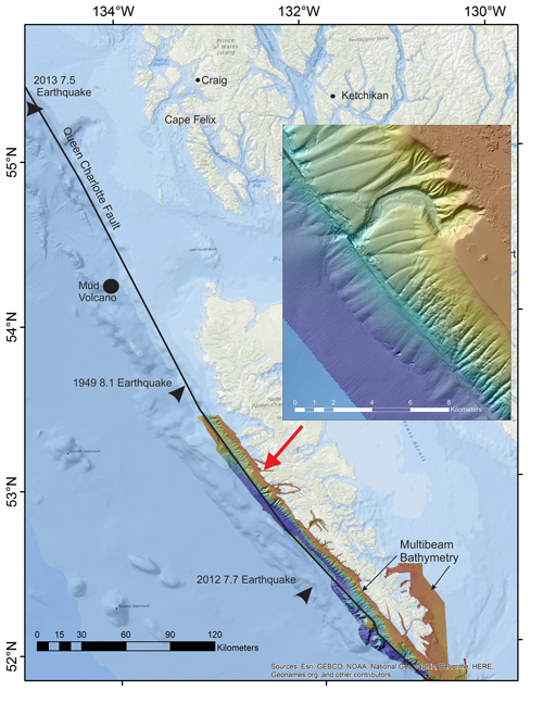A map of the Queen Charlotte–Fairweather fault zone shows major earthquakes and the location of the newfound mud volcano. The inset, from an earlier expedition, shows the varied seafloor topography. Credit: Barrie et al., 2013, 10.1007/s00367-013-0333-3