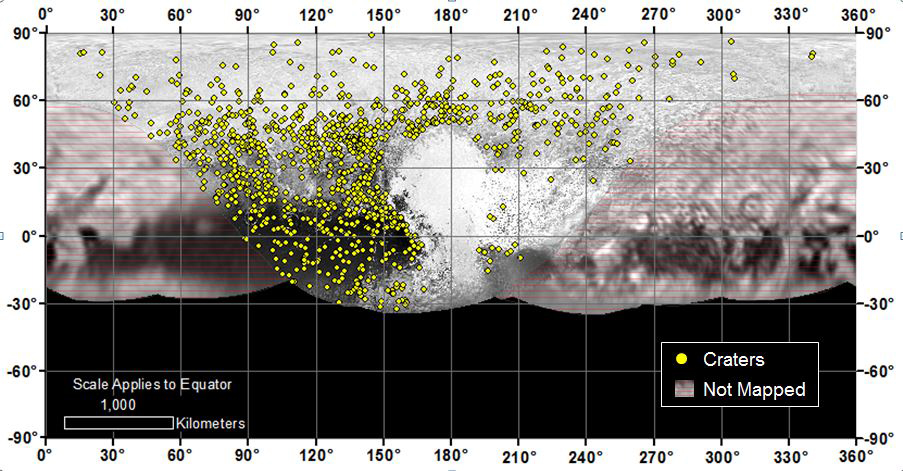 Locations of more than 1000 craters mapped on Pluto by NASA's New Horizons mission indicate a wide range of surface ages, which likely means that Pluto has been geologically active throughout its history. Credit: NASA/Johns Hopkins University Applied Physics Laboratory/Southwest Research Institute