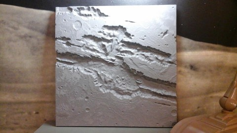 A 58-square-centimeter (23-square-inch) 3-D model of the giant Valles Marineris canyon on Mars. Credit: Seth Horowitz, Northeast Planetary Data Center