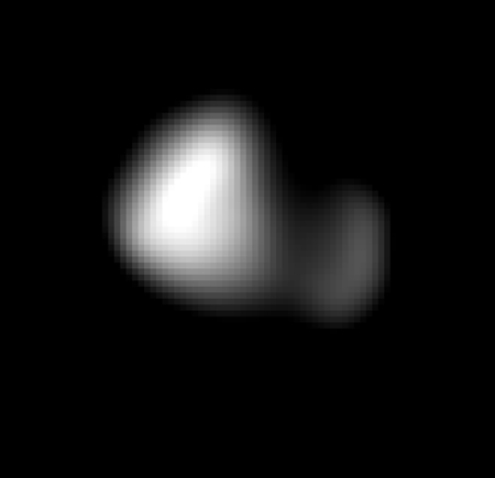 Surprised scientists have found that the four small moons of Pluto—Styx, Nix, Kerberos, and Hydra—rotate faster than expected. Kerberos, pictured here, rotates once every 5.33 hours, the slowest of the four. But Hydra, the fastest, makes an unheard of 89 rotations per orbit of the dwarf planet. Credit: NASA/Johns Hopkins University Applied Physics Laboratory/Southwest Research Institute