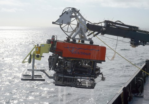 Researchers use the remotely operated vehicle Ventana to deliver monitoring equipment to the depths of Monterey Canyon. Credit: Krystle Anderson © 2015 MBARI