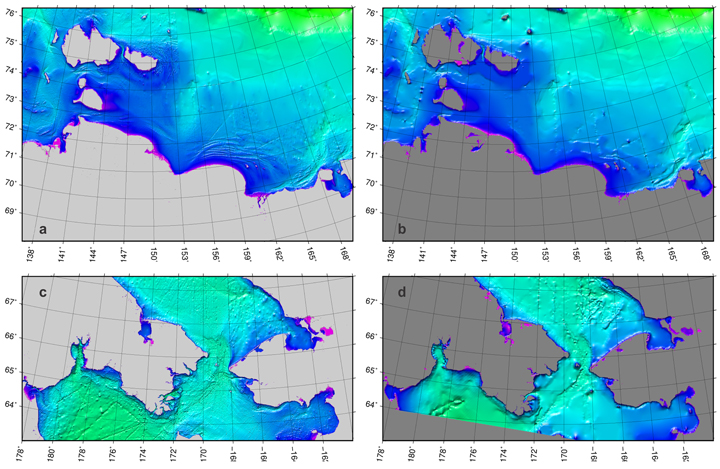 Fig. 2. Comparison of (left) the new ARDEM grid with (right) the IBCAO grid (a and b) along the Siberian coast and (c and d) near Bering Strait.