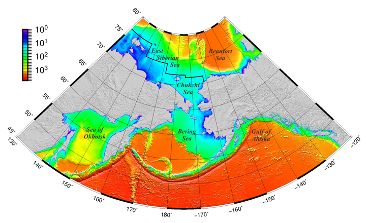 Fig. 1. The ARDEM grid, with ocean depths plotted on a logarithmic color scale. The International Bathymetric Chart of the Arctic Ocean (IBCAO) grid provides elevations located to the north of the black line that crosses the East Siberian and Chukchi Seas.