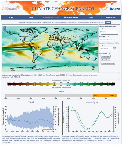 Fig. 1. Screenshot of the Climate Inspector: an interactive web-based application for global climate change data visualization and exploration.