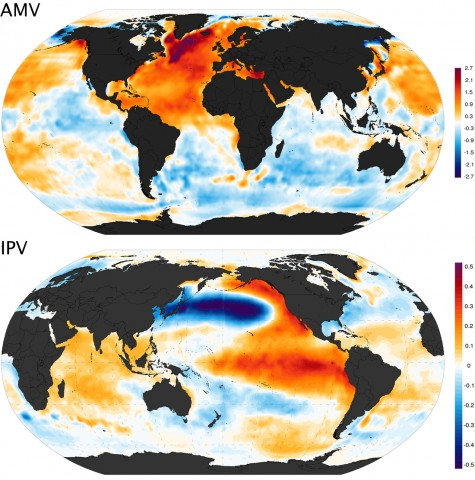 The warm-phase spatial patterns of (top) Atlantic Multidecadal Variability (AMV) and (bottom) Interdecadal Pacific Variability (IPV). AMV results are the regression pattern of monthly sea temperatures on the AMV index, and IPV results are the regression pattern for the IPV index. The color scale units are degrees Celsius per standard deviation of the respective index. Credit: (top) Giorgiogp2; (bottom) Giorgiogp2, CC BY-SA 3.0