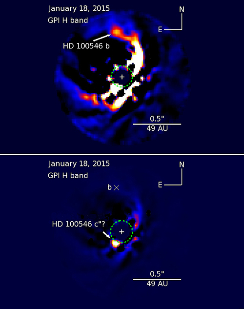 New observations have confirmed that the object HD 100546 b (top), which is up to 34 times as massive as Jupiter and orbits a youthful star some 320 light-years from Earth, is a still-forming planet. The recent images of the surroundings of HD 100546 (the star) have revealed what appears to be a second still-growing planet, dubbed HD 100546 c (bottom). It could weigh in at up to 1020 Jupiter masses. Credit: Gemini Observatory/AURA/Thayne Currie - NAOJ