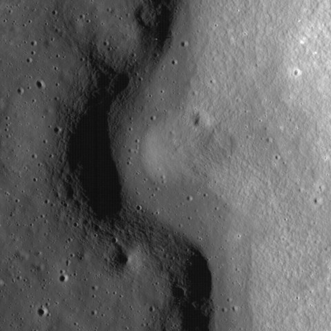 A sinuous channel created by a lava flow on the lunar surface indicates past volcanic activity on the Moon. New experiments suggest that if lunar magmas contained water, they would have lost it quickly upon reaching the surface. Credit: NASA/GSFC/Arizona State University