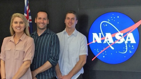 Scientists working in the NASA DEVELOP Applied Sciences Program at the Jet Propulsion Laboratory. From left: Brittany Zajic, Nick Rousseau, Daniel Jensen. Credit: Nick Rousseau, NASA JPL.