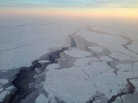 A view of Arctic sea ice from the NOAA P3 airplane. NOAA's Climate Program Office funded this year's Arctic Report Card, which documents that the average annual air temperature over land areas between October 2014 and September 2015 was 1.3° Celsius above average, the highest in the observational record that began in 1900. Credit: NOAA