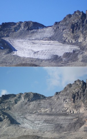 Images of the Pizol Glacier in the Swiss Alps, taken (top) in 2006 and (bottom) in 2011 illustrate just how quickly these very small glaciers can disappear. Credit: Matthias Huss