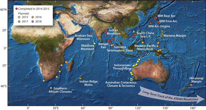 Fig. 1. Completed and planned JOIDES Resolution expeditions in the International Ocean Discovery Program, an international scientific drilling program that explores Earth's history and dynamics.