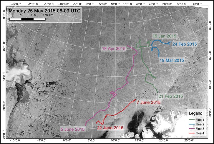 Drift tracks of research vessel Lance in winter and spring 2015 in the region north of Svalbard. Ice camps were set up three times on ice floes near 83°N, then evacuated and reestablished when ice broke up near the ice edge. The N-ICE2015 field campaign ended in late June 2015 with a shorter 2-week drift along the ice edge. Credit: RADARSAT-2 images provided by NSC/KSAT under the Norwegian-Canadian RADARSAT agreement. RADARSAT-2 Data and Products © MacDonald, Dettwiler and Associates Ltd (2013). All Rights Reserved. RADARSAT is an official mark of the Canadian Space Agency. Map created by the Norwegian Polar Institute / Max König