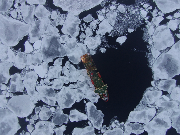 Fig. 3. The Phantom 2 Vision+ UAV took this image of the U.S. icebreaker Nathaniel B. Palmer on 13 April 2015 (day 3) during an assessment of floe size distribution conducted en route to the ice shelves near East Antarctica.