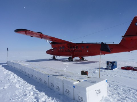 Embed 1: Boxes containing the Ferrigno ice core, ready to start their journey to the United Kingdom. Credit: Liz Thomas