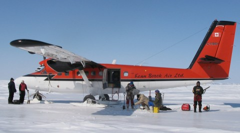 Researchers use aircraft on skies to sample the ocean beneath the ice. Credit: Eddy Carmack