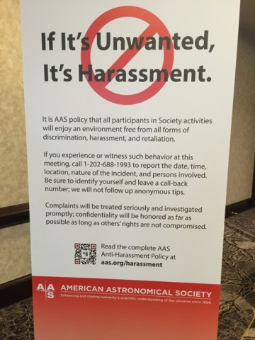 Signage displayed throughout the conference center at the 2016 American Astronomical Society's annual meeting. Credit: Meg Urry