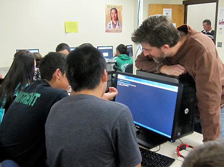 """Teens solved puzzles and competed in teams to """"capture the flag"""" in this Teen Café on """"white hat"""" hacking and cybersecurity."""