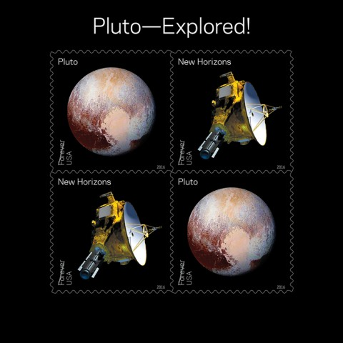 """This new sheet of four stamps, called """"Pluto—Explored!,"""" shows an artist's rendering of the New Horizons spacecraft and the spacecraft's image of Pluto taken near its closest approach. In 2006, NASA placed a 29-cent 1991 """"Pluto Not Yet Explored"""" stamp in the New Horizons spacecraft. In 2015, the spacecraft carried the stamp on its history-making mission to Pluto and beyond. Credit: ©2016 USPS"""