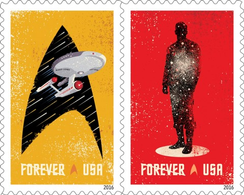 Celebrating the 50th anniversary of the television premiere of Star Trek, the new Star Trek Forever stamps showcase four digital illustrations inspired by classic elements of the television program: the Starship Enterprise inside the outline of a Starfleet insignia, the silhouette of a crew person in a transporter, the silhouette of the Enterprise from above, and the Enterprise inside the outline of the Vulcan salute (Spock's iconic hand gesture). Credit: ©2016 USPS