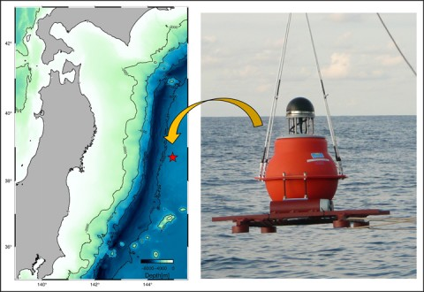 The location of the observed site (left) and an acoustic device deployed there for GPS/Acoustic survey (right). Credit: Fumiaki Tomita