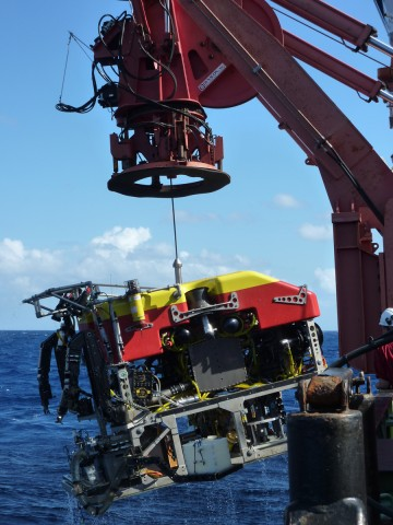 The team used this remotely operated vehicle in 2013 to sample fluids, rocks, and fauna from the new vent system. Credit: Rachel Mills/University of Southampton, UK