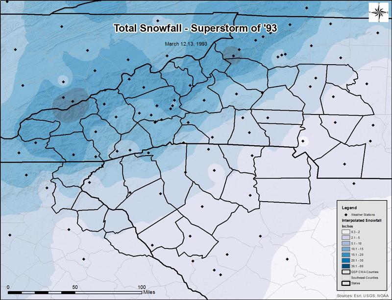"Fig. 2. Final map product of the snowfall totals observed from the Superstorm of 1993, created in Exercise 4 of the ""GIS Tutorial for Atmospheric Sciences"" lab tutorial."