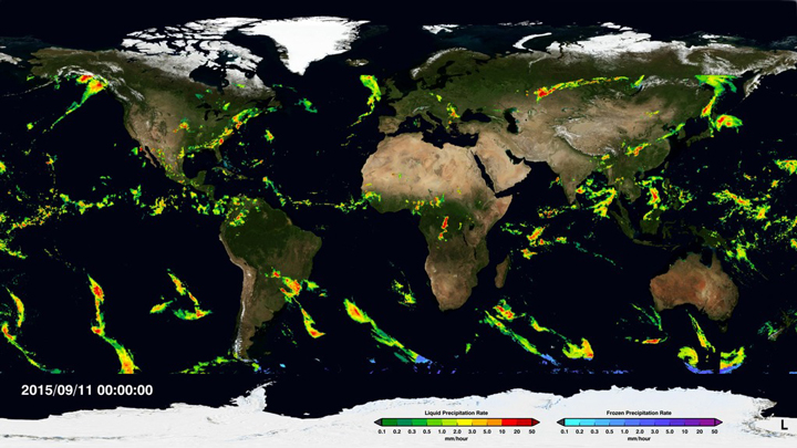 Liquid and frozen precipitation rates, from NASA's Integrated Multi-Satellite Retrievals for GPM (IMERG) product. IMERG combines data from the Global Precipitation Measurement (GPM) mission, a constellation of domestic and international satellites, to form a single, seamless map. These data depict how rain and snow move around the world, which is critical for understanding Earth's water and energy cycles. Data are available globally on GPM pages. Credit: NASA/GSFC
