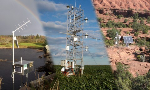 Fig. 1. A variety of sensor networks in the United States and elsewhere allow students to ask scientifically relevant questions. (left) U.S. Geological Survey stream guage near Augusta, Maine. Credit: Nick Stasulis/USGS. (middle) AmeriFlux gas flux sensor near Bondville, IL. Credit: ORNL/FLUXNET. (right) U.S. Climate Reference Network weather station, Capitol Reef National Park, Utah. Credit: NOAA