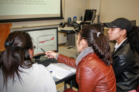Fig. 2. Undergraduate students at the State University of New York, New Paltz, work with long-term temperature data in the Project Environmental Data-Driven Inquiry and Exploration (EDDIE) Climate Change module. Credit: Jannett Dinsmore