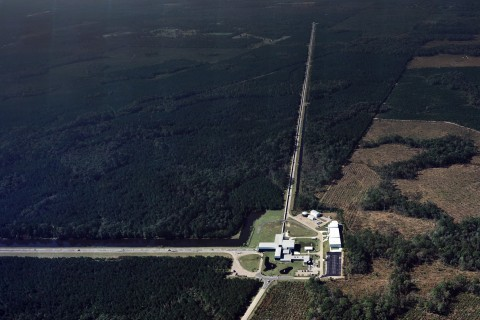 The Livingston, La., LIGO Laboratory is one of two facilities needed to confirm the detection of gravitational waves. The other is near Hanford in eastern Washington. Nearer to the Gulf of Mexico, the Livingston facility is especially challenged by microseismic noise from ocean waves churned up by storms. Credit: Caltech/MIT/LIGO Lab