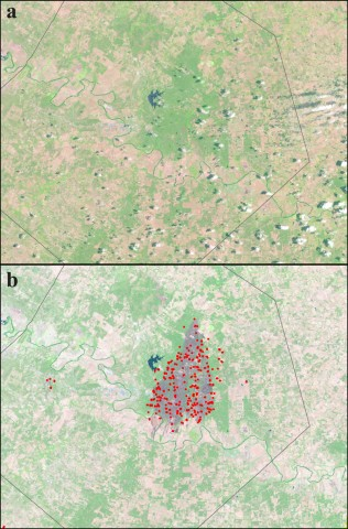 Fig. 1. Integration of remote sensing products in a geographic information system (GIS): (a) Landsat imagery of Bastrop Country, Texas, from 9 July 2011; (b) Landsat imagery of the Bastrop County Complex Fire burn scar as observed on 11 September, 2011. Red dots indicate fire locations as detected by the Moderate Resolution Imaging Spectroradiometer (MODIS) during the summer of 2011.