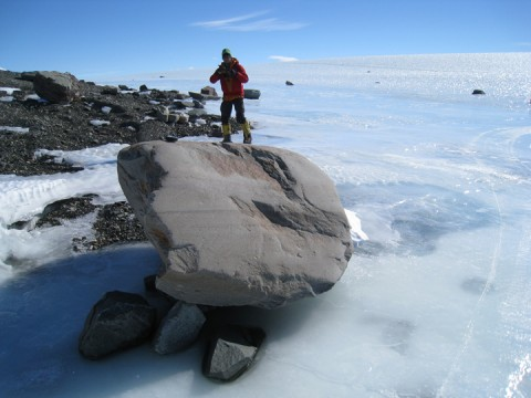 A boulder sits atop a blue ice moraine in the West Antarctic. By analyzing rocks like this one, researchers could determine the age and stability of the ice sheet. Credit: David Sugden