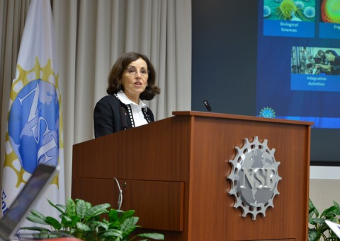 NSF Director France Córdova discussed the proposed budget for the agency at a 9 February briefing at NSF headquarters in Ballston, Va. Credit: NSF/Sandy Schaeffer